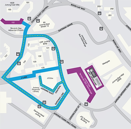 The test coverage map of the Jurong East Mobility Trail. According to the map's legend, the areas marked in purple are intended for indoor coverage; while the streets marked in blue are for testing outdoor coverage. (Image source: MyRepublic)