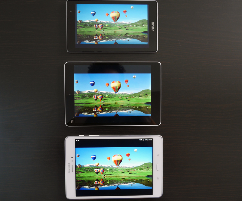 The ZenPad C 7.0's display (top) appears less bright and colors are more muted compared to the Xiaomi Mi Pad (middle) and Samsung Galaxy Tab A (bottom).