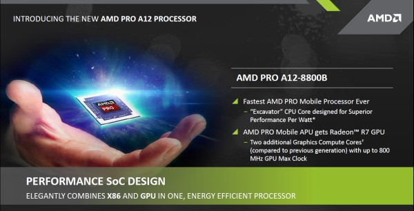 AMD also introduced the AMD PRO A12 APU, the company fastest notebook APU to date.