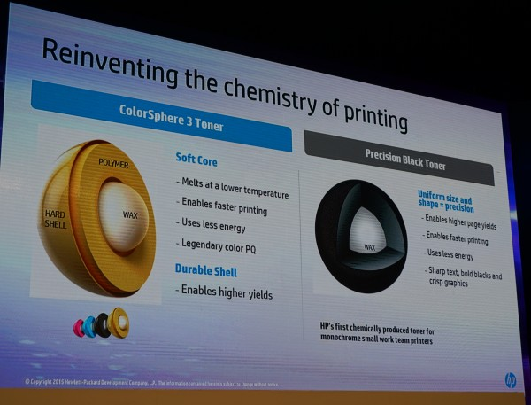 All cartridges of HP's new printers will be contain the new ColorSphere 3 Toner and Precision Black Toner ink.