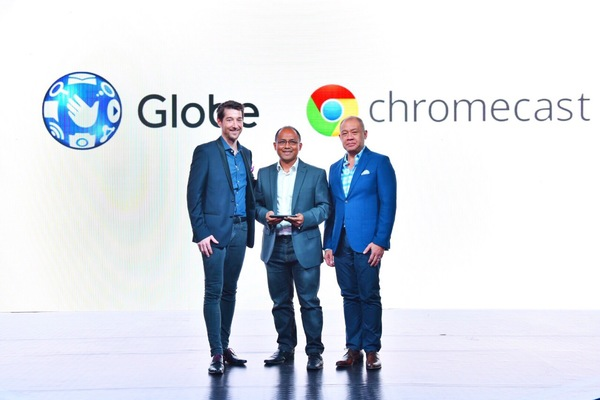 (From left to right) Globe Senior Advisor for Consumer Business Dan Horan, Google Philippines Country Manager Kenneth Lingan, and Globe President and CEO Ernest Cu.
