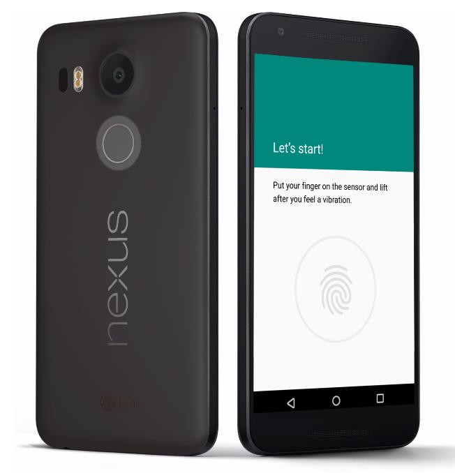 LG Nexus 5X, showing off its Nexus Imprint feature.