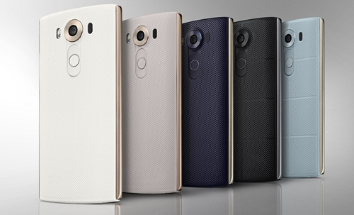 The LG V10 comes in five colors - space black, luxe white, modern beige, ocean blue and opal blue. <br> Image source: LG