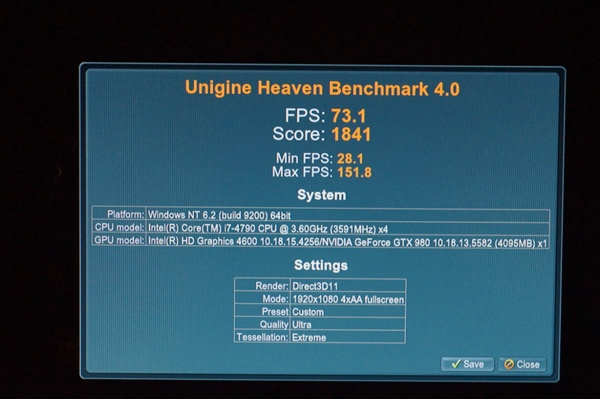 Here's the result of the Unigine Heaven benchmark on a desktop system...