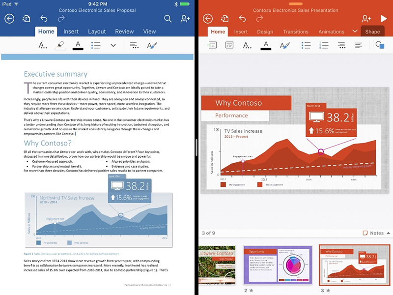What's better than running an Office app on the iPad? Running two of them side by side, that's what! With Split View and iOS 9, this is now a reality.