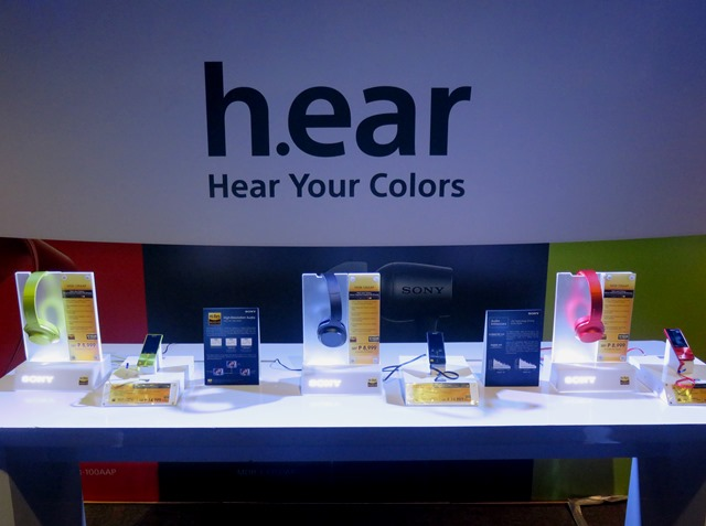 The new Sony Hi-Res audio products on display during its launch at Green Sun in Makati.