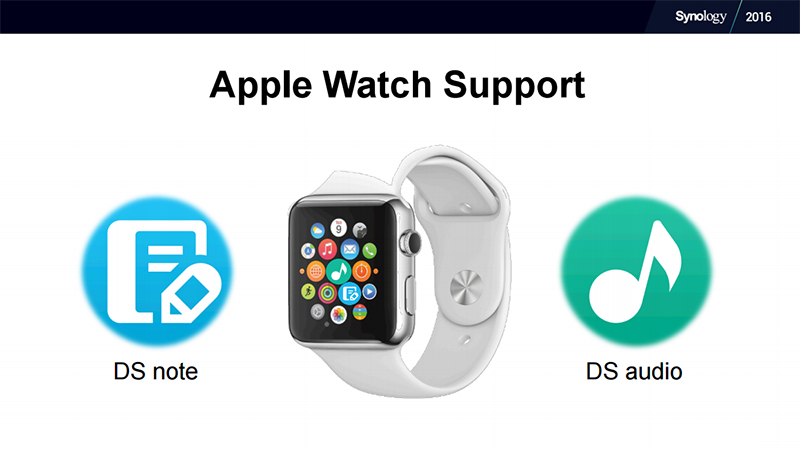 DSM 6.0 supports the Apple Watch with apps like DS note and DS audio. (Image Source: Synology)