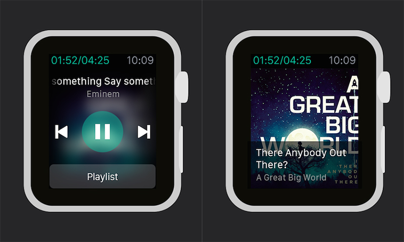 A look at the DS music interface on the Apple Watch. (Image Source: Synology)
