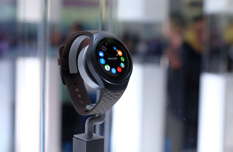 The Samsung Gear S2 might be the first smartwatch that makes me actually believe that smartwatches are the future. The 1.2-inch AMOLED display is surrounded by a brilliant rotating bezel, which you use to navigate the watch's custom UI. Click for our detailed first looks.