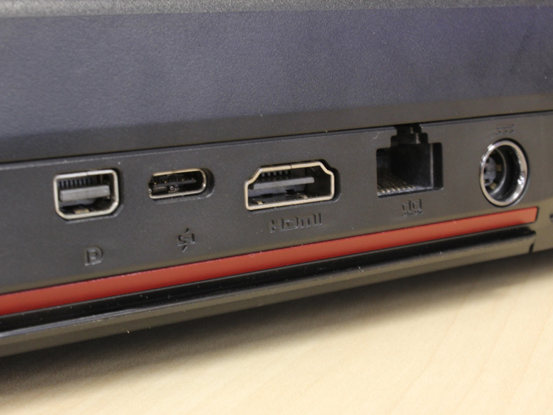 The back features the new Super Port, the mini-DisplayPort, HDMI, Ethernet port and the Kensington lock (on the far left).