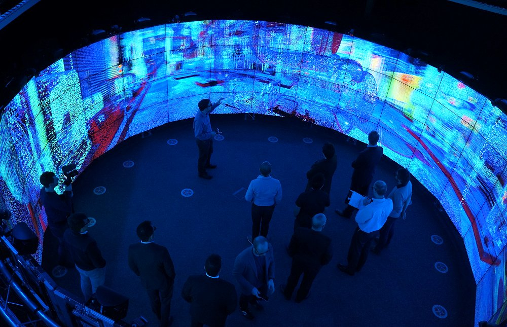 The Monash CAVE2 visualization facility in action.