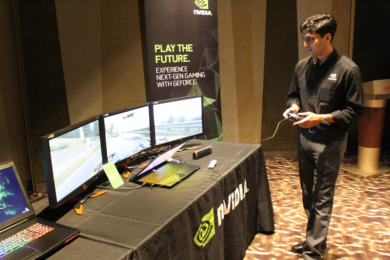 Gaurav Agarwal, NVIDIA Product Marketing Manager, demoing Project Cars on the Aorus X7 DT. Gaurav was also the speaker for the event's presentation.