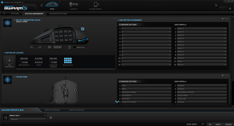 You can change commands to every button on the Nyth and the interface is incredibly intuitive. Any gamer would feel at home with this utiltiy and easily configure the mouse to their liking via Swarm.