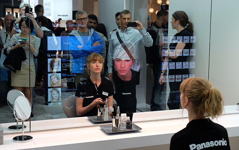 This prototype Panasonic Smart Mirror can show you new makeup and facial hair styles on your face in real time. If you can take the punishment, it can also point out all your flaws and suggest products you can buy to improve them.