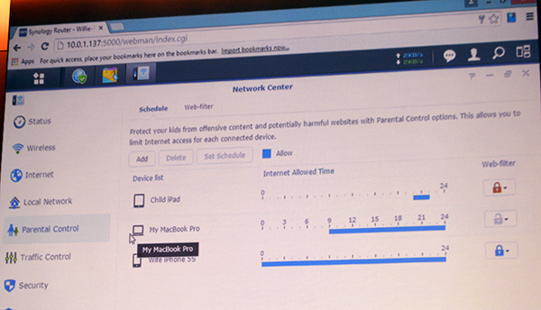 The Synology RT1900ac router's parental control interface is one of the most extensive that we have seen.