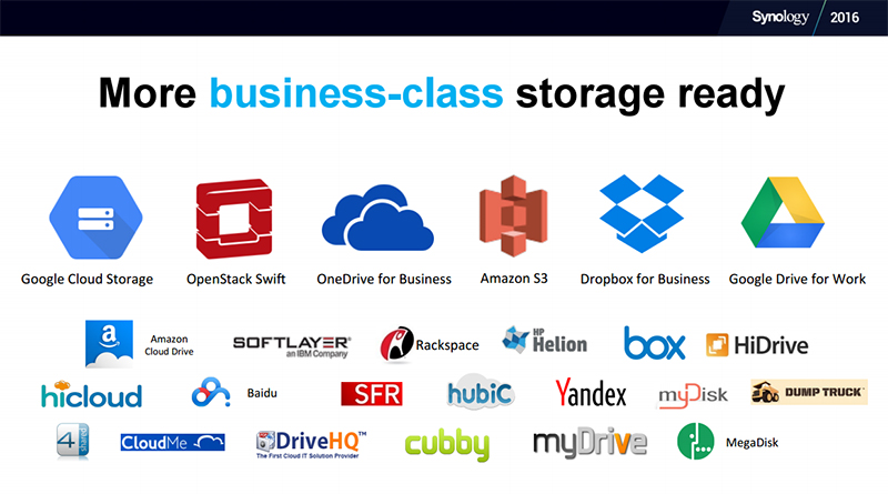 Synology supports multiple business-grade public cloud services. (Image Source: Synology)
