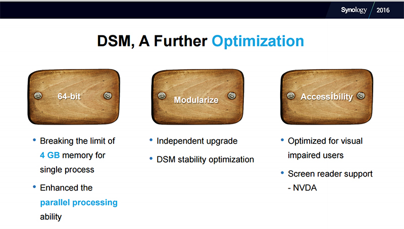 DSM 6.0 enables improved performance thanks to support for 64-bit architectures, in addition to greater flexibility because of the modular nature of upgrades. (Image Source: Synology)