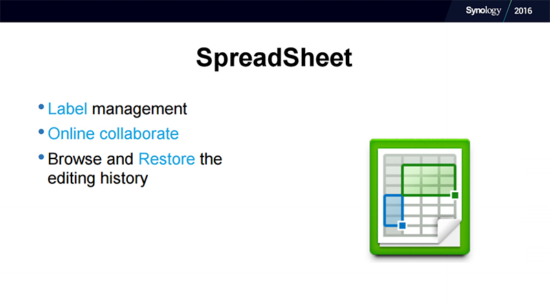 Spreadsheet is Synology's way of allowing online collaboration on worksheets à la Google Sheets. (Image Source: Synology)