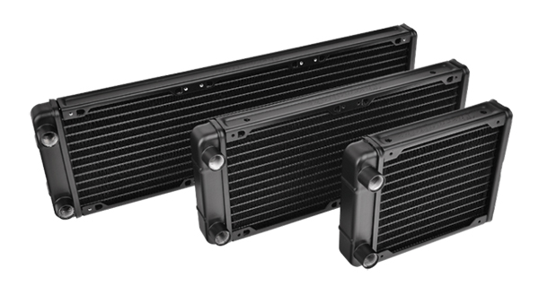 The R120, R240, and R360 radiators only come in black. (Image Source: Thermaltake)
