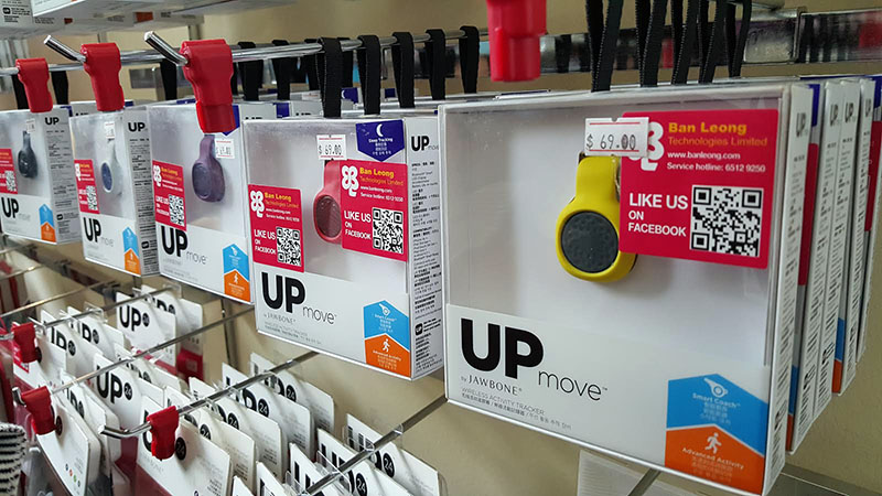 The Up Move is a colourful fitness tracker from Jawbone with the ability to track your activity and sleep. Its usual price is S$88, at Comex it's S$69 with a free Up Move strap.