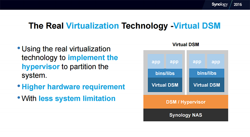 Virtual DSM has a higher hardware requirement than Docker DSM. (Image Source: Synology)