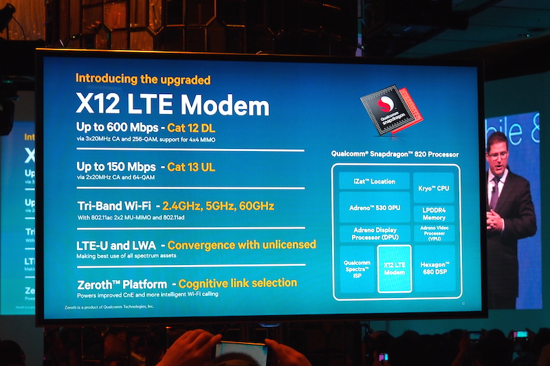 A teaser of all the connectivity features that the Snapdragon 820 will get, via the capabilities of the X12 LTE modem.