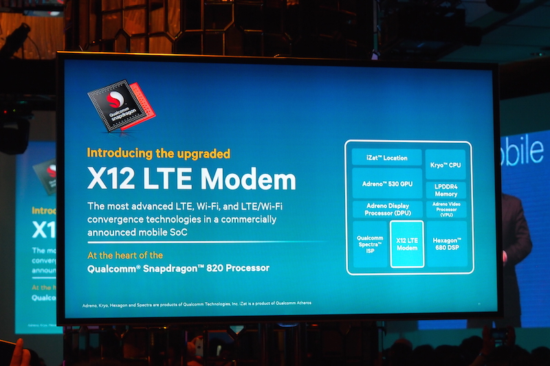 Qualcomm is proud to unveil their X12 LTE modem - this is how the chip will work with other chips on the Snapdragon 820 processor.