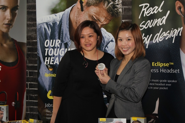 From L-R: Jasmine Teo, Channel Sales & Marketing Specialist, Consumer Solutions APAC, Jabra and Margaret Ang, Regional Sales Manager, South Asia, Jabra with the Sport Pace and the Eclipse.