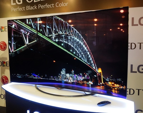 Behold, LG's new 65-inch curved 4K OLED TV, in all its glory.