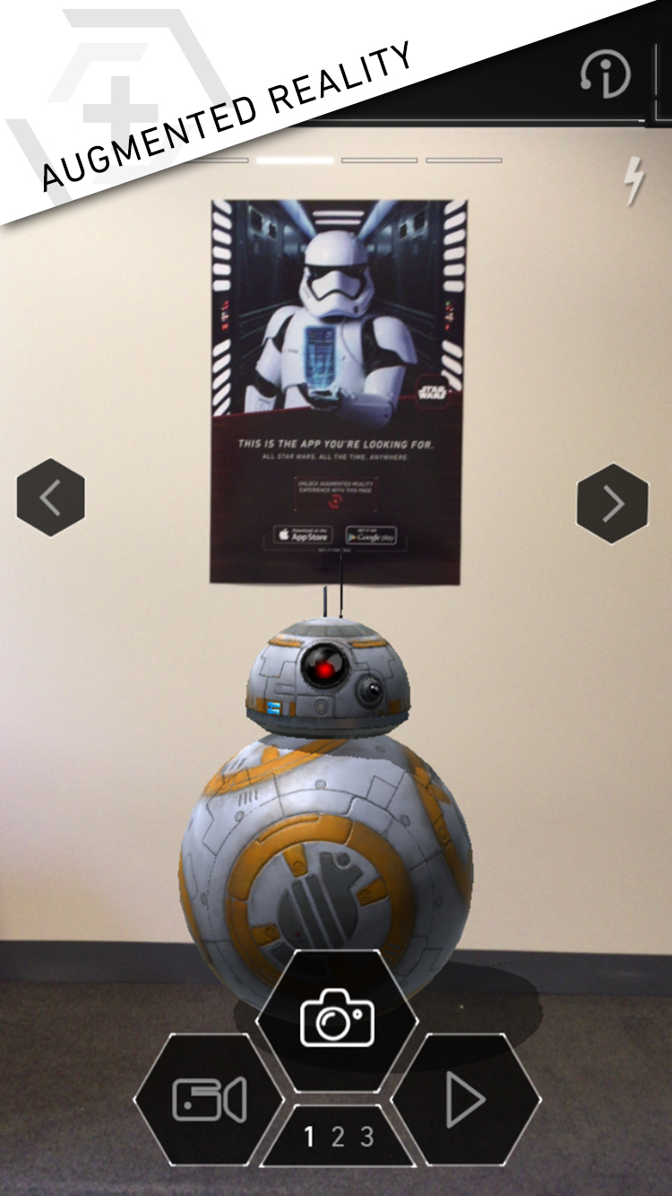 See the world through the lens of the Star Wars universe via its Augmented Reality feature.