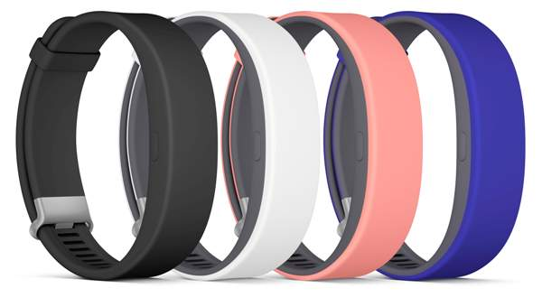 All the available colors of the Sony Smartband 2. <br> Image source: Sony Mobile.
