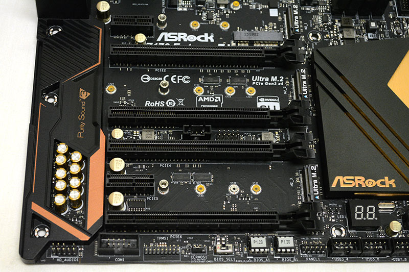 The board has a total of four PCIe 3.0 x16 slots and single PCIe 3.0 x1 and PCIe 2.0 x1 slots for add-in cards.