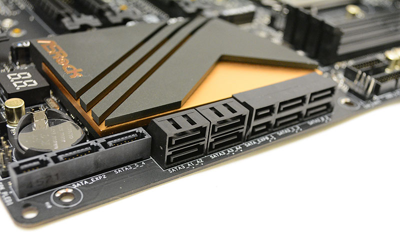 The ASRock Z170 Extreme 7+ has a total of 10 SATA 6Gbps ports, although only six are offered natively through the chipset.