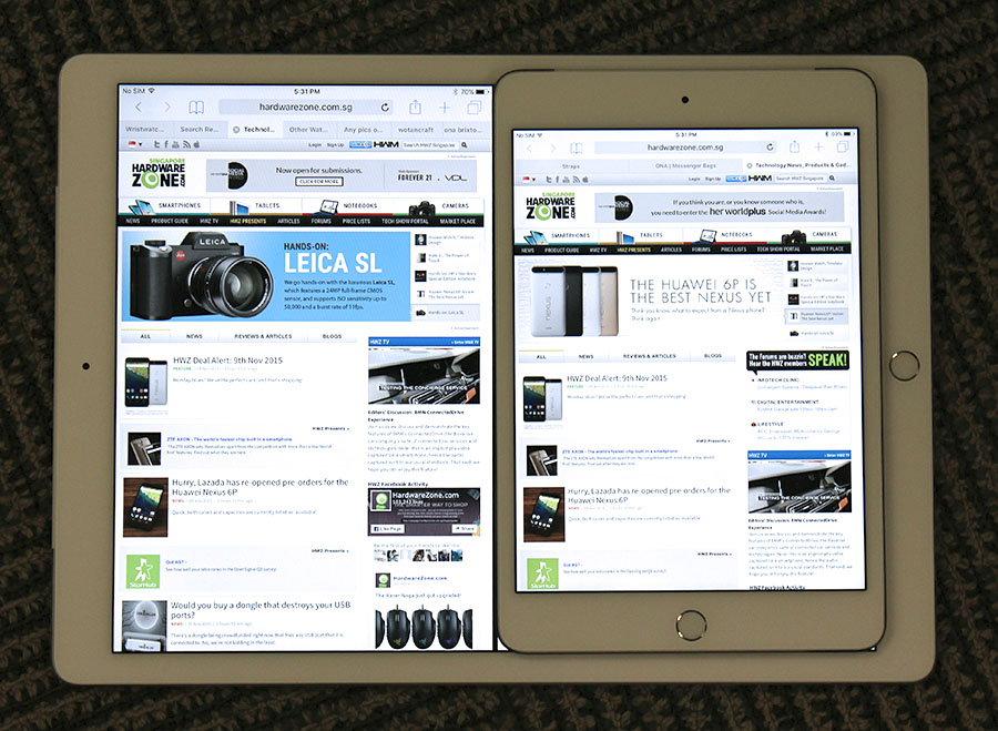Is the iPad Pro really big or the iPad Mini 4 really small? Either way, the iPad Pro is great for multi-tasking.