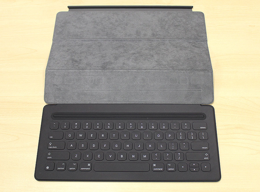 The Smart Keyboard folds away when it is not in use to protect the iPad Pro's display.