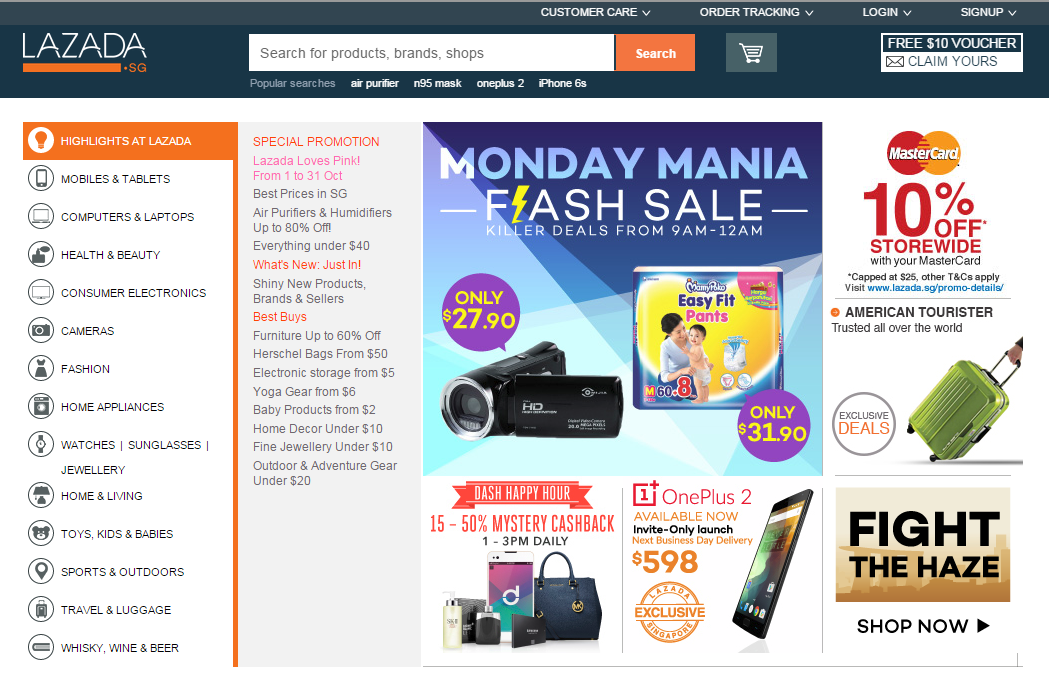 Main page of Lazada Singapore, featuring the Dash tie-up on the left.