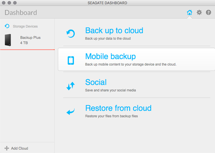 The Seagate Dashboard utility is straightforward and easy to use.