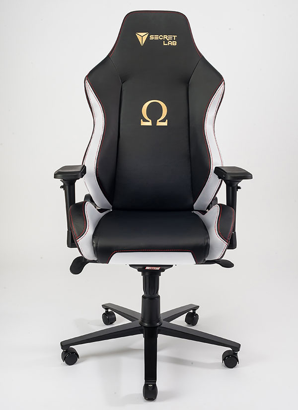 Shown here is the Classic Secretlab Omega. The white accents are where the carbon fiber-textured panels would be in the Stealth version. (Image Source: Secretlab)