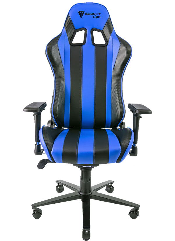 The Secretlab Throne V2 in Azure Blue. You can see the carbon fiber texture on the black racing stripes. (Image Source: Secretlab)
