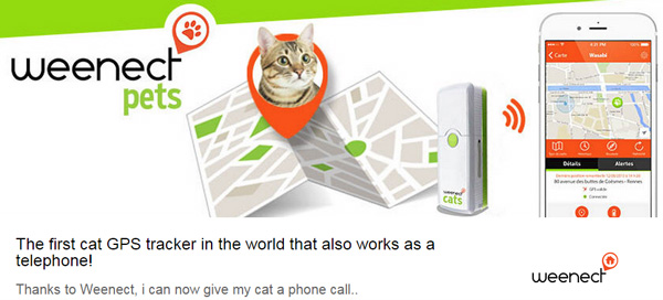 The Weenect Cats is a GPS device which also has phone capabilities.