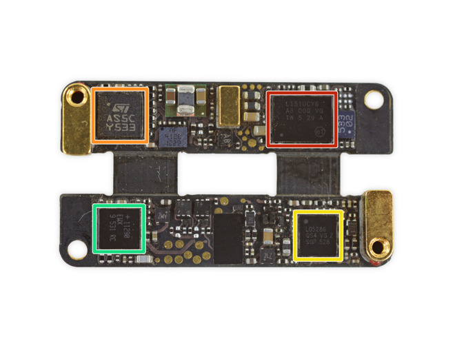 The entire logic board weighs just 1g but includes an ARM-based CPU, Bluetooth Smart radio, and more.