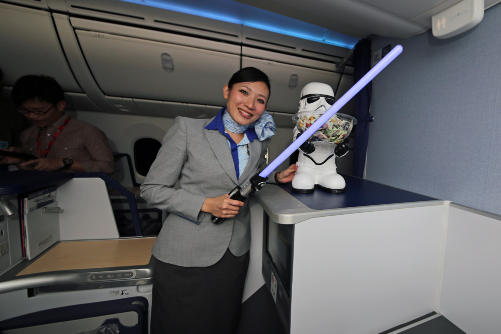 Padawan in training, but an expert ANA stewardess nonethless. Image credit: superadrianme.com