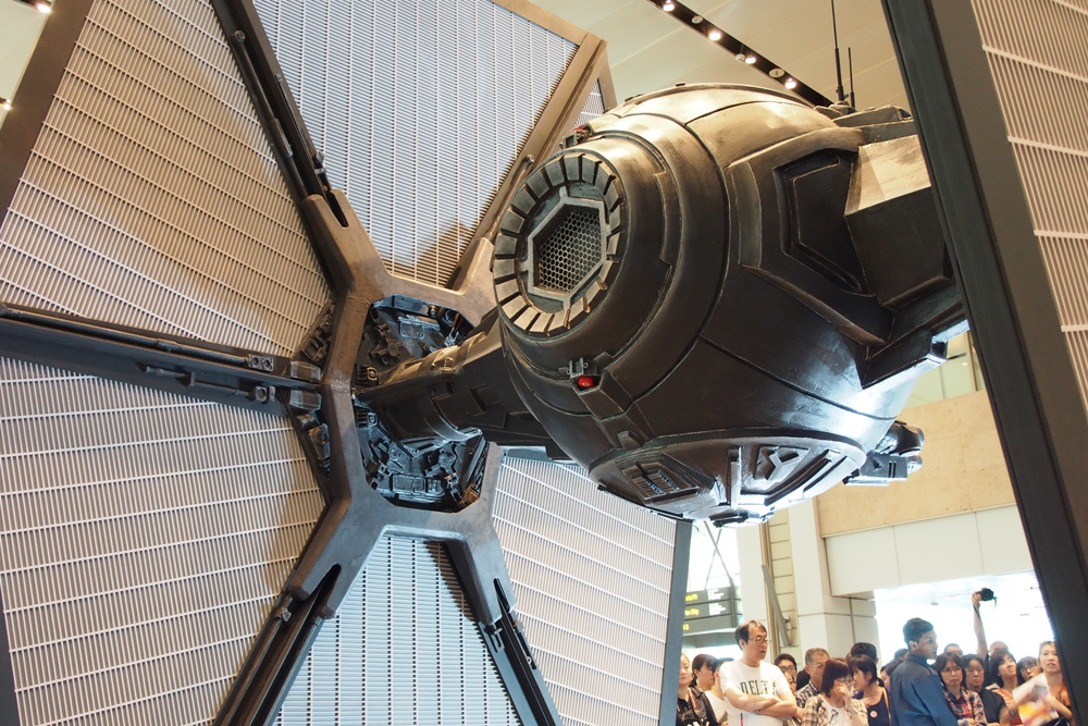 The rear view of the TIE fighter on display.