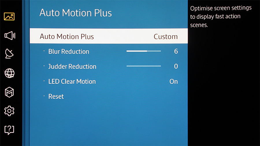 The job of Auto Motion Plus is to remove blurring and judder from scenes with rapid movements.