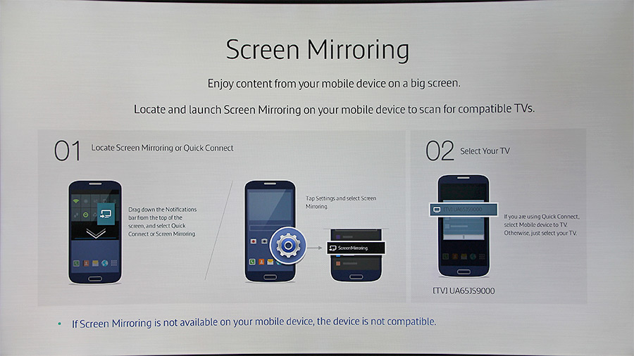 It's possible to wirelessly connect a mirroring-enabled mobile device to the TV and play the A/V files stored on it on the bigger screen.