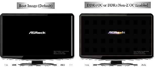 The boot image will appear with a dash of gold through it if your DDR4 modules are compatible. (Image Source: ASRock)