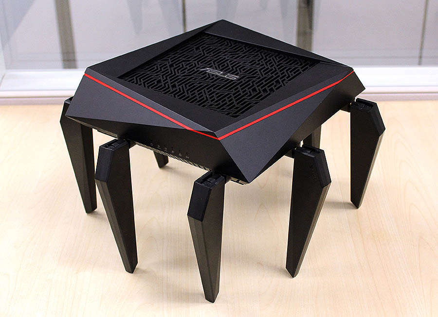 The ASUS RT-AC5300 router offers good performance and features. Plus, it looks like a spider. Or a world destroyer if you recollect the last Superman movie.