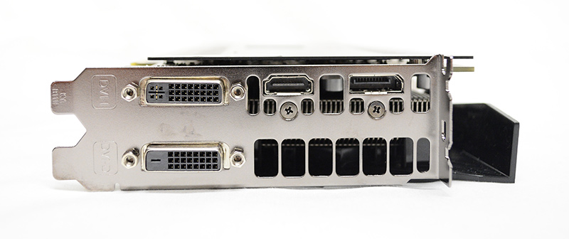 In the way of display connectors, the card has one DVI-I port, one DVI-D port, one HDMI connector, and one DisplayPort output.