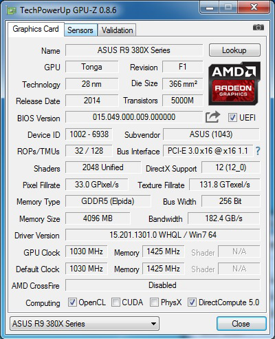 A quick overview of the card's specifications.