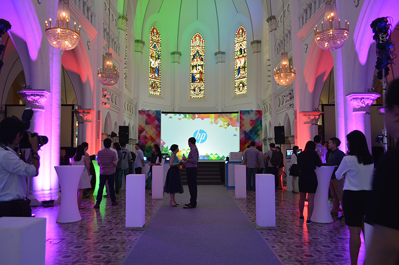 HP converted CHIJMES Hall into a showcase area for its latest products.